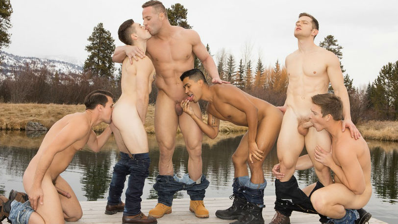 "Asher, Deacon, Dillan, Jack, Lane and Malcolm in ""Wyoming Getaway"" part 4 at Sean Cody"