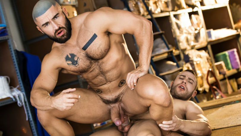 "Muscle hunks Diego Reyes and Francois Sagat in ""Heart's Desire"" from Men.com"