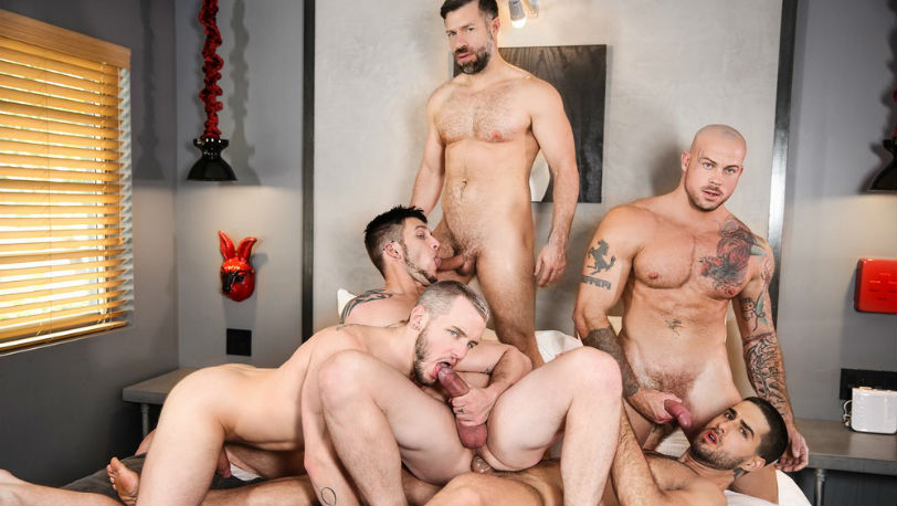 "Diego Sans, Tristan Jaxx, Allen Lucas, Colton Grey & Sean Duran in ""Fugitives"" at Men.com"