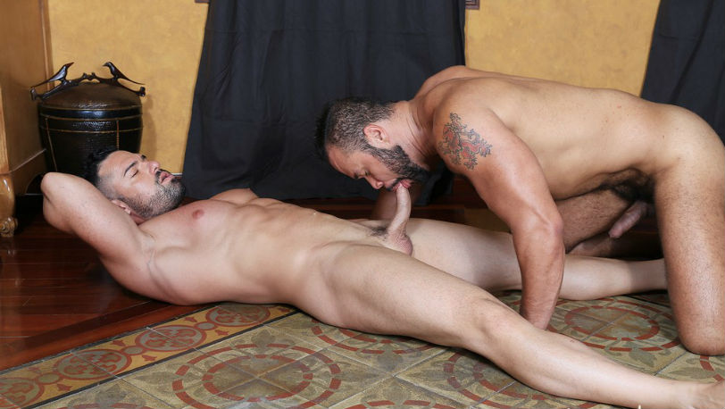 "Muscle hunks Damien Kilauea and Gabriel Luna in ""Casting Couch #381"" from Kristen Bjorn"
