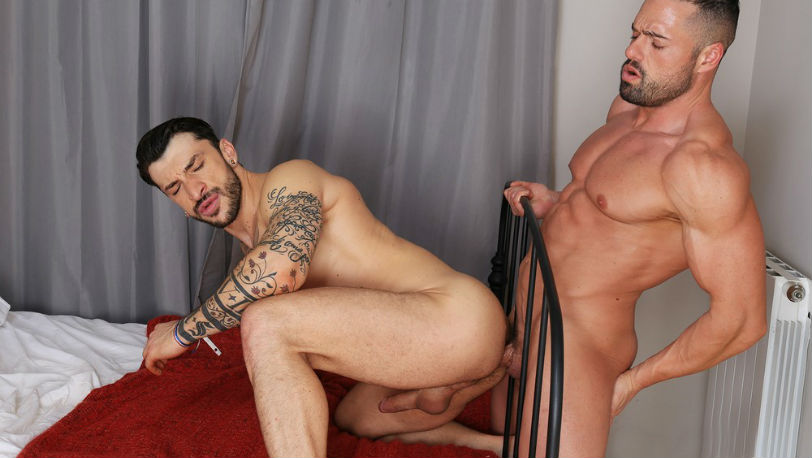 Gabriel Lunna pumps his cock in and out of Sergio Moreno's hot hole at Kristen Bjorn