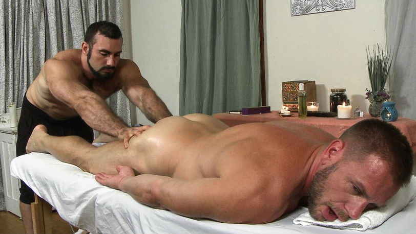 """Jaxton Wheeler and Hans Berlin in """"Inappropriate Touching Please!"""" from Icon Male"""