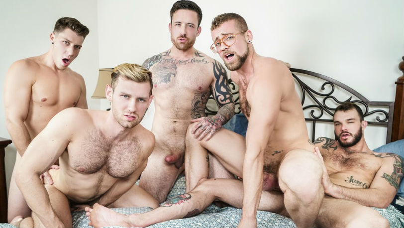 "Jordan Levine, Cliff Jensen, Jay Austin, Jacob Peterson and Paul Canon in ""Gaymates"" at Men.com"