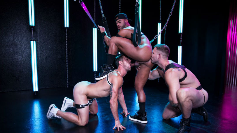 "Muscle hunks Micah Brandt, Ryan Rose and Austin Wolf in ""Get Lit"" part 4 at Hot House"