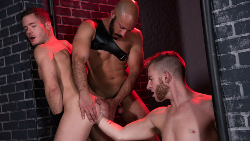 "Sebastian Keys, Dylan Strokes & Ashley Ryder in ""Fistin Alley"" part 3 at Club Inferno Dungeon"