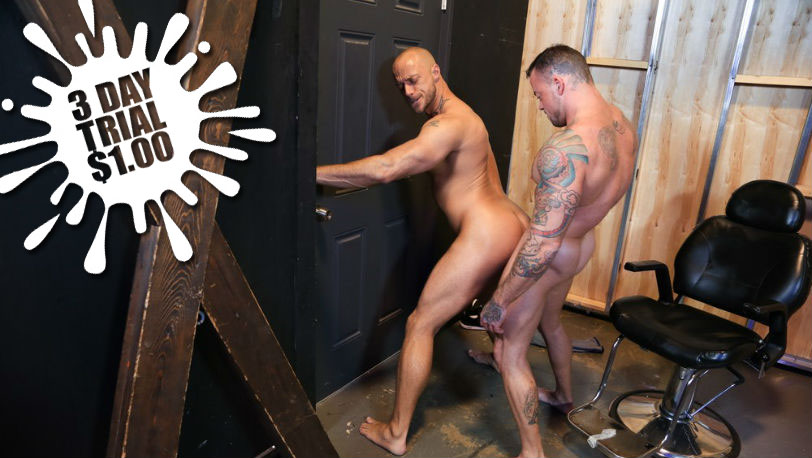 """Sean Duran fucks Jessie Colter against the wall in """"Playroom Fuckers"""" from Pride Studios"""