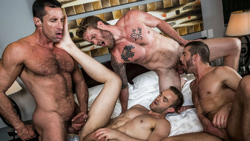 Tryp Bates, Shawn Reeve, Nick Capra, and Jackson Radiz fuck RAW at Lucas Entertainment