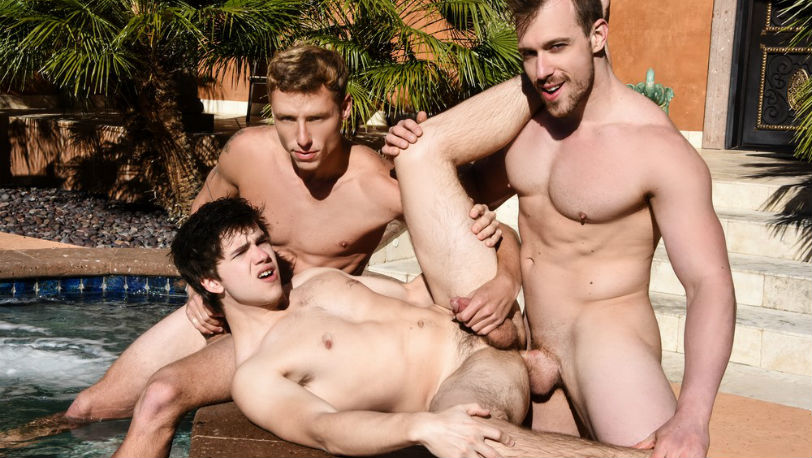 "Will Braun joins the fun with Justin Matthews and Blake Hunter in ""Poolside Cruising"" from Men.com"