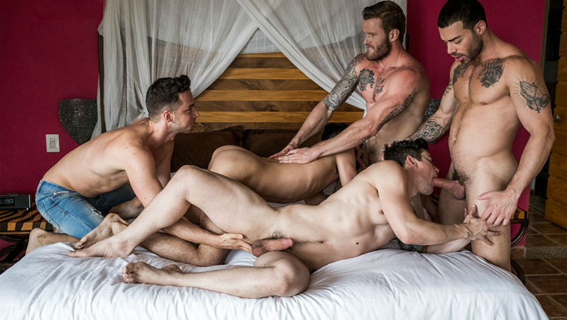 Aaden Stark, Carlos Lindo, Dakota Payne, Damon Heart and Shawn Reeve at Lucas Entertainment