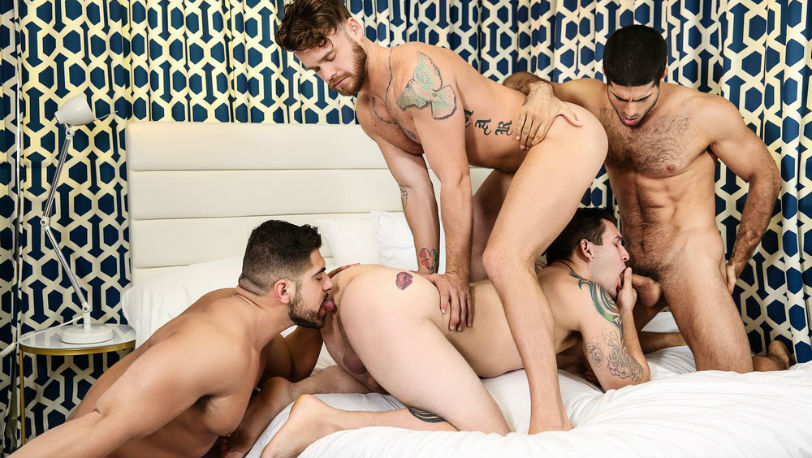 "Muscle hunks Diego Sans, Allen Lucas, Max Wilde and Damien Stone in ""Save Me"" from Men.com"