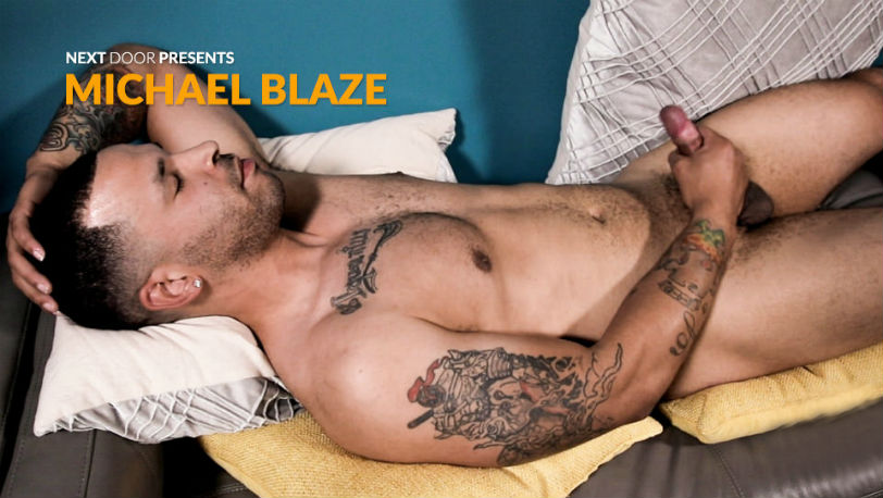 Michael Blaze teases us while flexing his toned and muscled physique at Next Door Studios