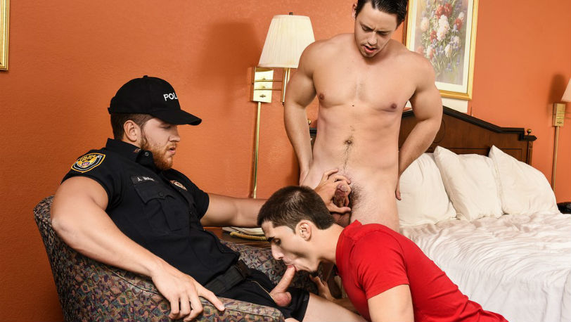 "Muscle hunks Ashton Mckay, Tobias and Damien Kyle in ""Dick Patrol"" part 2 from Men.com"