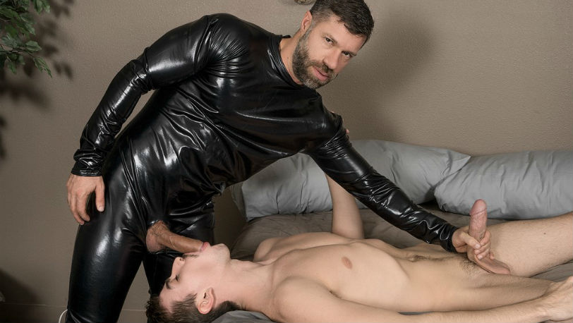"""Jack Hunter gets pounded by Tristan Jaxx in """"Rubberman Doesn't Wear Condoms"""" from Bromo"""