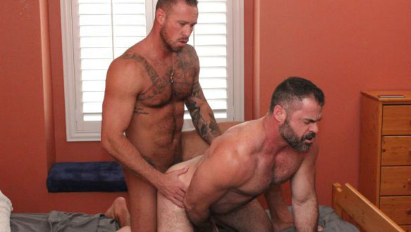 Michael Roman is horny as fuck so he texted his old fuck buddy Bishop Angus at BarebackFlixxx