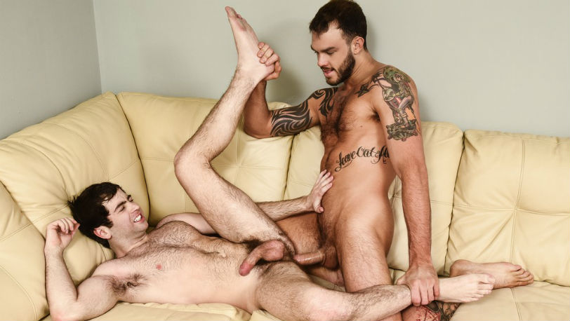 "Muscle hunk Cliff Jensen gives Damien Pierce a helping hand in ""Penis Panic"" from Men.com"
