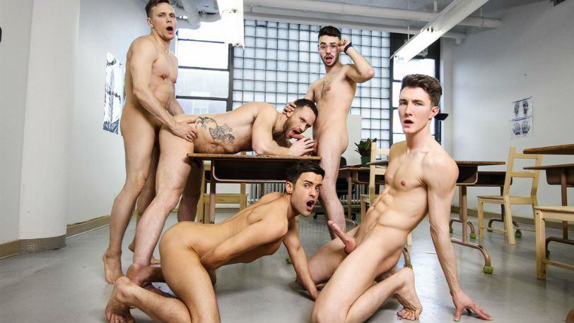 "Kit Cohen, Peter Pounder, Alex Neveo, Zack Hunter & Ethan Chase in ""Ass Controller"" from Men.com"