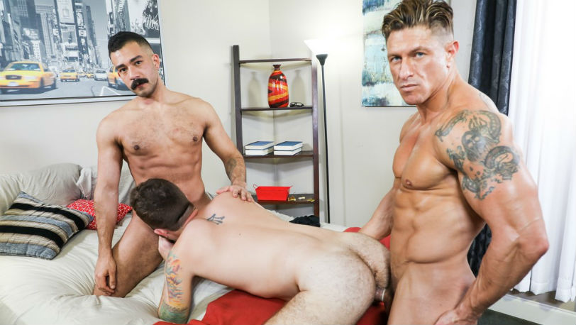 "Bryce Evans, Jay Donahue and Chad Stone threesome in ""Hired Fun"" from Pride Studios"