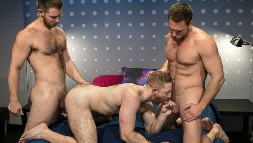 "Hans Berlin, Spencer Whitman & Sean Knight in ""Shut Up and Fuck Me!"" part 6 at Raging Stallion"