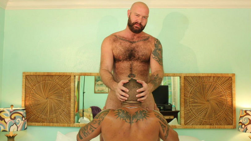 Luke Harrington gets Travis Saint on all fours at BarebackFlixxx