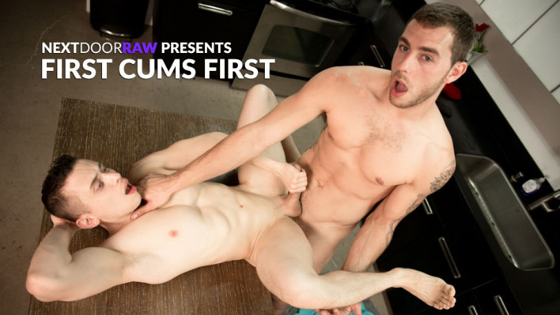 "Dante Martin tells Carter Woods to fuck him harder in ""First Cums First"" at Next Door Studios"