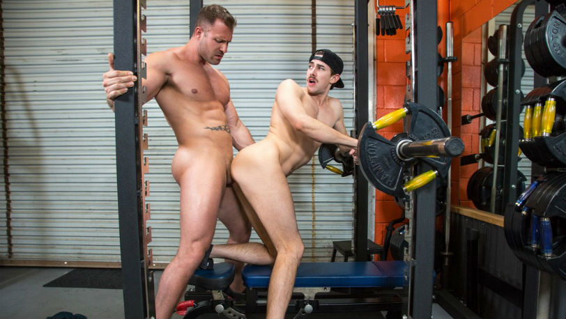 """Jack Hunter gets fucked by coach Austin Wolf in """"Cross Fuck"""" part 4 from Hot House"""