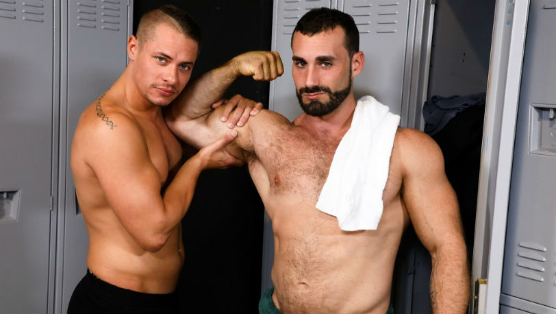 "Jaxton Wheeler and Aston Springs in ""Worship My Big Muscles and Fat Cock"" from Pride Studios"