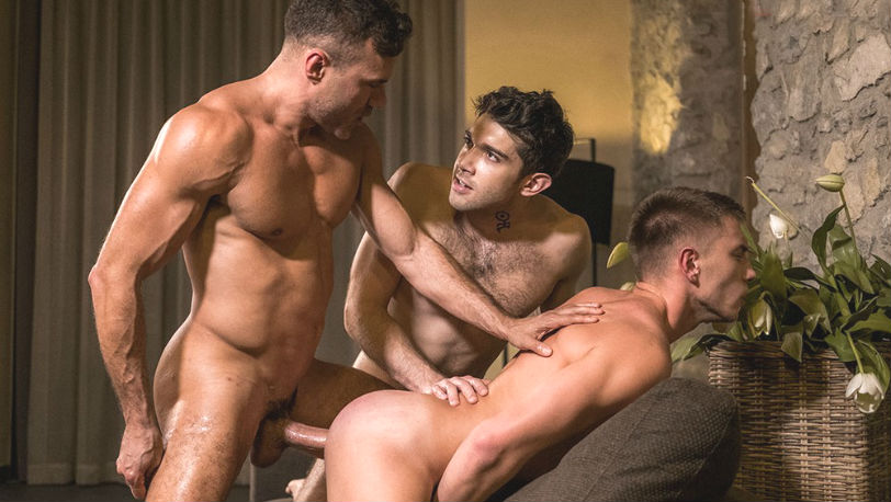 "Manuel Skye, Ben Batemen & Bogdan Gromov in ""Bareback Boy Holes"" from Lucas Entertainment"