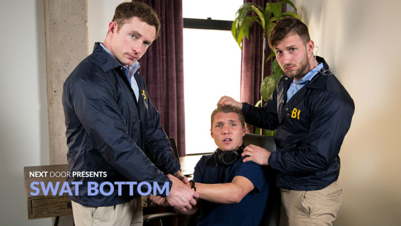 "Agents Markie More and Nicholas Ryder fuck Elye Black in ""SWAT Bottom"" from Next Door Studios"
