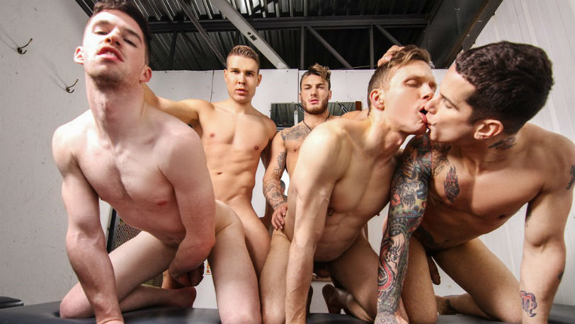 "Pierre Fitch, Thyle Knoxx, Ethan Chase, William Seed and Jordan Fox in ""Snap!"" part 2 from Men.com"