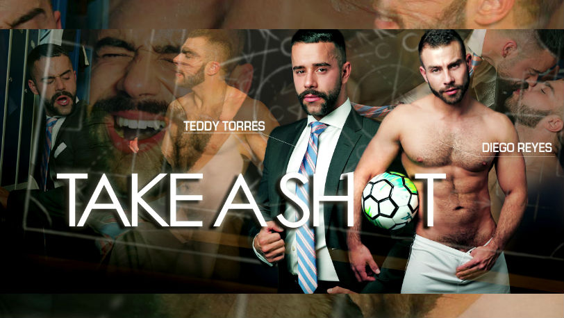 "Hot hunk Diego Reyes pounds Teddy Torres' furry ass hard in ""Take A Shot"" from Men at Play"
