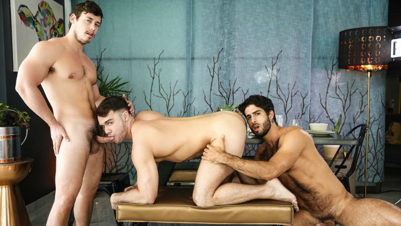 "Tobias and Diego Sans invite Blaze Austin over for a threesome in ""Nostalgia"" from Men.com"