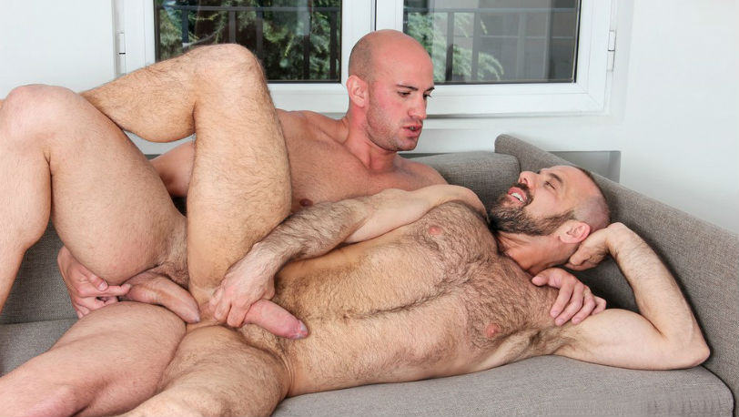 "Hugo Stark hits Felipe Ferro's ass at every angle possible in ""Real Men"" from Kristen Bjorn"