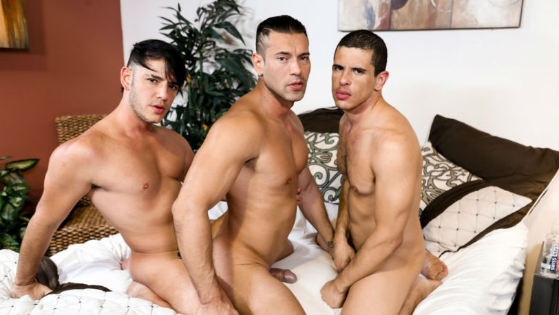 "Adrian Cortez, Rego Bello and Alexander Garrett in ""Throuple"" from Pride Studios"