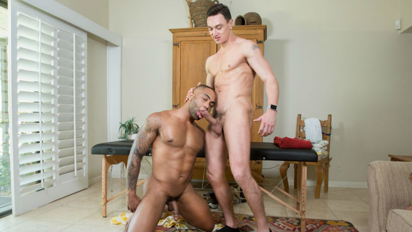 """Cade Maddox easily slides inside Remy Cruze's hot ass in """"Swim Meat"""" part 1 from Hot House"""