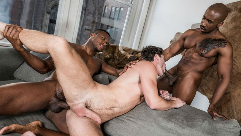 "Andre Donovan, Max Konnor and Devin Franco in ""Black Cocks Matter"" at Lucas Entertainment"