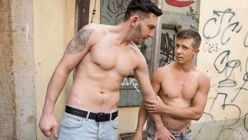 "Hunks James Huck and Ryu get ready to bust a nut in ""Open And Bred"" from Bromo"