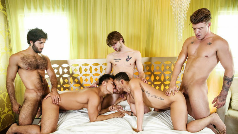 "Diego Sans, JJ Knight, Beaux Banks, Dalton Briggs & Ken Ott in ""The Heist"" part 3 from Men.com"