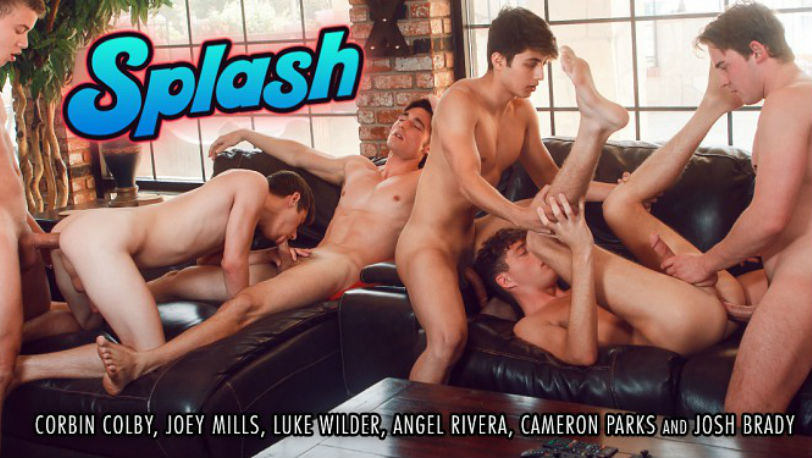 "Hot bareback orgy with Joey Mills, Corbin Colby and more in ""Splash"" from Helix Studios"