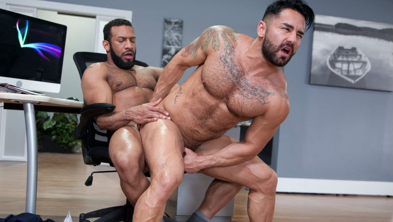 "Bruno Bernal sucks Jay Landford's big cock in ""Rideshare"" part 3 from Raging Stallion"