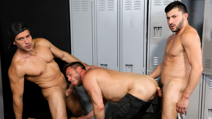 "Alexander Garrett, Hans Berlin and Scott DeMarco in ""International Big Dick"" from Pride Studios"