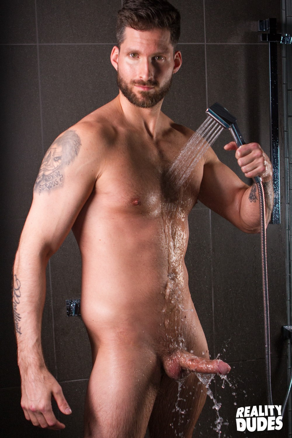 Buff dude showered cum