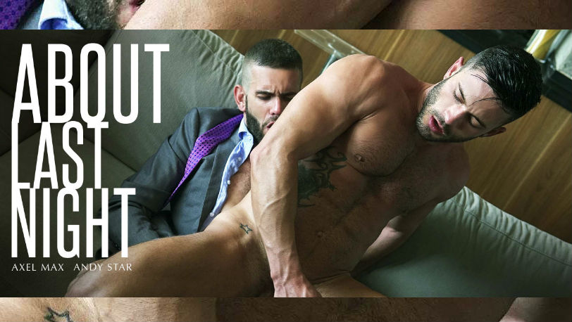 "Andy Star and Axel Max drain each other's balls in ""About Last Night"" from Men at Play"