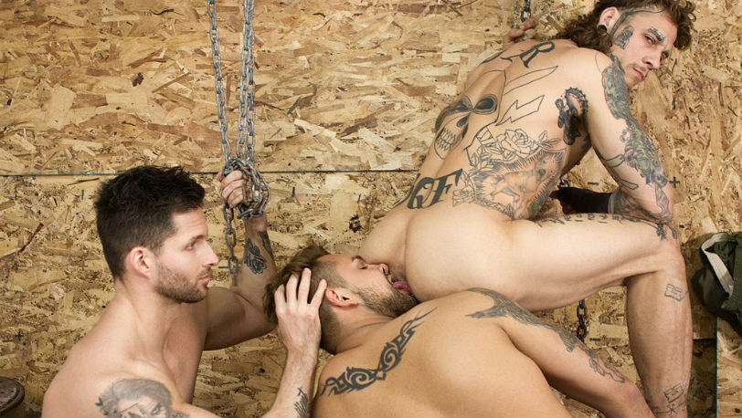 "Bo Sinn and Logan Styles take turns fucking Jax Damon in ""Grunts"" part 3 from Bromo"