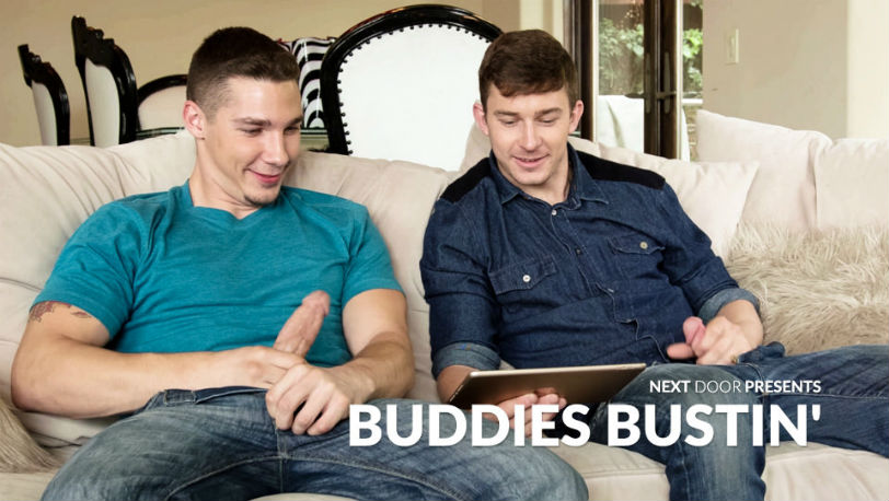 "Spencer Laval is ready to fuck his teammate Nathan Styles in ""Buddies Bustin"" at Next Door Studios"