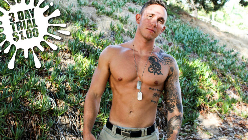 New Active Duty recruit Cole Weston is a sexy soldier with a few tattoos and a great looking cock