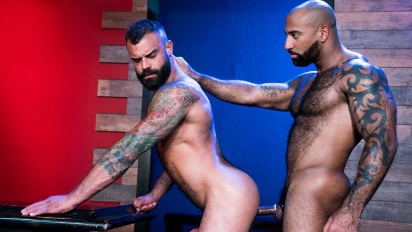 "Furry hunks Daymin Voss and Drake Masters in ""Furgasm"" part 1 from Raging Stallion"