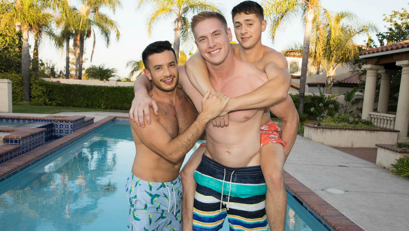 Hot Sean Cody models Jax, Lane and Manny start sucking on each other's big dicks
