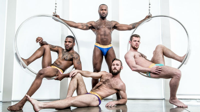"Noah Donovan, Ziggy Banks, Aaron Reese and Kurtis Wolfe in ""Strip Poker"" from Noir Male"