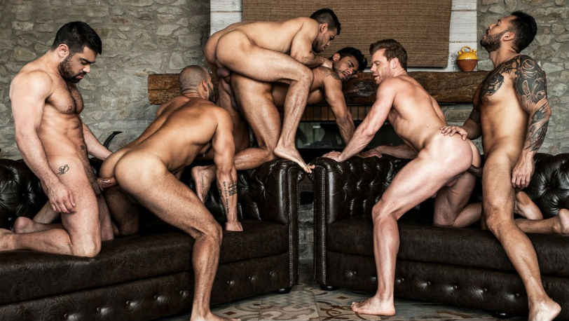 Muscle hunk Rico Marlon enjoys his hot raw uncut orgy at Lucas Entertainment