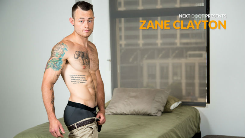 Next Door Male model Zane Clayton is a confident newbie with a sculpted body